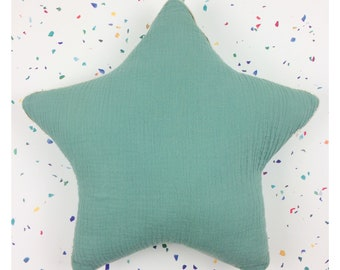 Two-tone cushion Eucalyptus / Aqua double gauze cotton