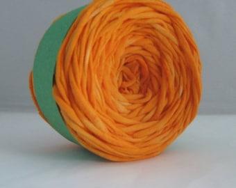 T Shirt Yarn, Hand Dyed, Orange, Clementine, 60 Yards, Tshirt Yarn, T-shirt Yarn