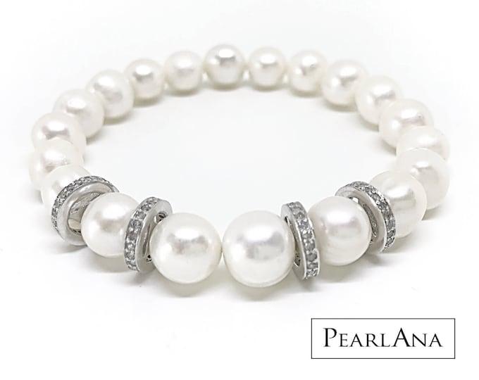 Custom white pearl and diamond bracelet