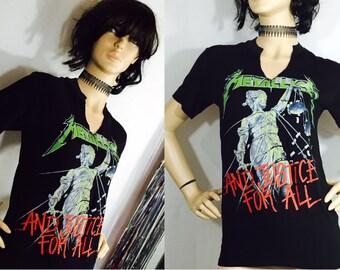 Vintage Tee Shirt Metallica Tour Concert T-Shirt Justice for All 1988 1989 Headbanger Metal Militia Black Tee 80's Rock n Roll Fashion