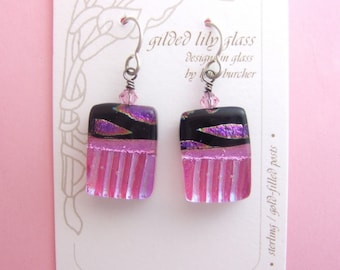Rose Marquis Earrings, Handmade Fused Glass Jewelry