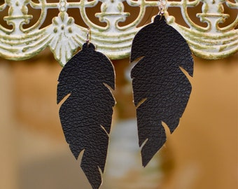 Flat black feather leather earrings- FREE SHIPPING