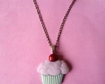 Pendant cupcake pink and green ♥ ♥