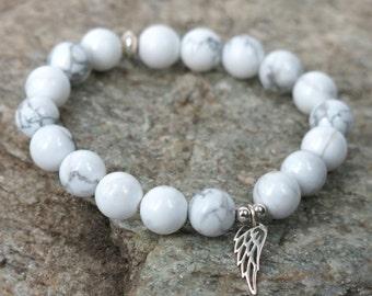 White Howlite Guardian Angel Bracelet . stacking stretch beaded bracelet
