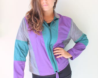 1980s RAINBOW Jacket.size medium large. colorful. bright. retro. teal. rainbow. 1980s. 1990s. rad. fun. hipster. womens. swishy. mesh jacket vk4ed
