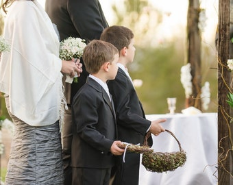 Custom Child Wedding Attendant Set, Leafy Vine Baskets For Your Woodsy Wedding, Jasmine, CUSTOM