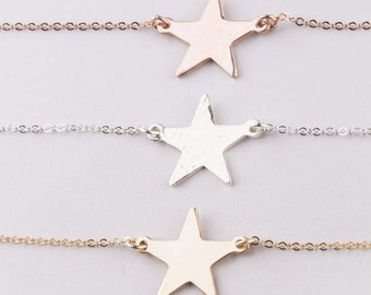 Star Gold Choker, Star Choker in Sterling Silver, 14K Gold Filled or Rose Gold Filled, Gift for Her, Dainty Gold Choker, Silver Star Choker