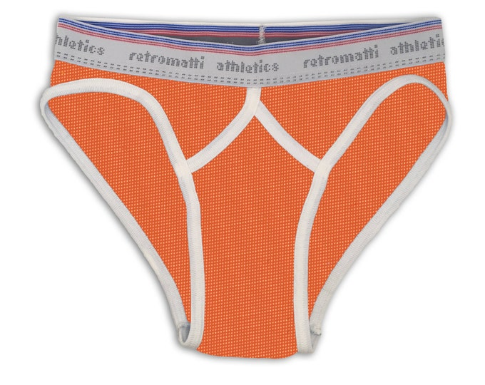 Retro sport briefs low-rise in electric orange mesh