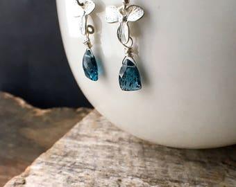 Moss Kyanite Earrings, Moss Kyanite Sterling Silver Earrings