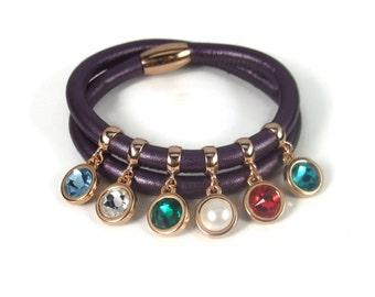 Rose Gold Mom Bracelet, Birthstone Charm Bracelet, Family Jewelry, Mom Jewelry, Purple Leather Charm Bracelet, Birthstone Bracelet