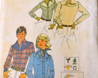 UNCUT Western Shirts  Vintage Sewing Pattern Simplicity 7051 Men's Western Shirts  Chest 38 to 40 inches Uncut Complete