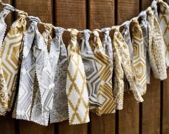 5' Festive Modern Silver and Gold Fabric Garland