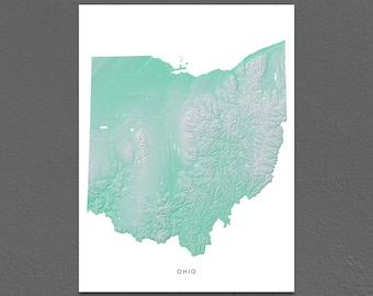 Ohio Map Print, Ohio State, Aqua, OH Landscape Art