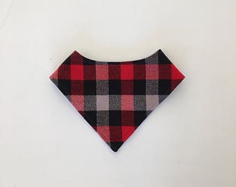 Lumberjack bib - red and black bib - boy bibdana - bibdana - red black and grey bib - drool bib - reversible bib - adjustable snaps -