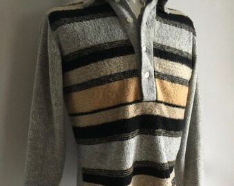 Vintage Men's 70's Striped Shirt, Long Sleeve, Pull Over by Kings Road (M)