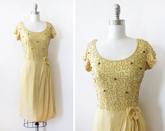 60s beaded dress, vintage 1960s yellow party dress, 1960s chiffon dress, Spring fling dress, medium m