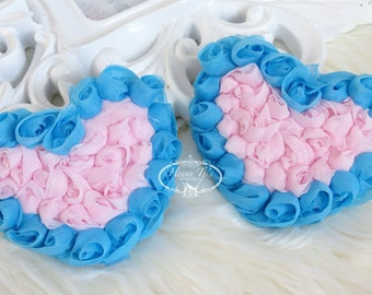 ValenTine's Day - Set of 4 Beautiful Shabby Chic Chiffon Rose HEART Appliques - Pink with Blue Edges 3 inches