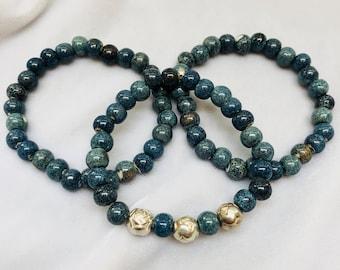 ceramic blue beaded bracelets, denim blue bracelet stack, cornflower blue bracelets, sorority bracelets, blue and silver bracelet stack