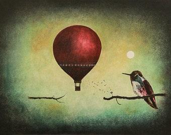"Art print // Hot air balloon - hummingbird - moon // ""What would happen?"