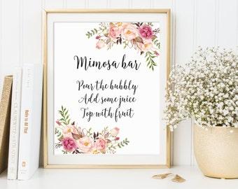 Mimosa Bar Sign, Bridal Shower Sign, Wedding Sign, Bubbly Bar Sign, Wedding Bar Sign, Wedding Decor, Floral Wedding Decor, Mimosa Bar, C1
