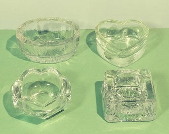 4 Pc Set Antique Glass Salt Cellars Assorted Shape Size Dishes Table Cooking Tableware Decorator Glassware Collectible Collector Assortment