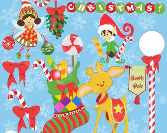 Christmas Clipart, Christmas Elf Clipart, Stocking, Reindeer Clipart, The North Pole Clipart, Commercial Use, Instant Download, AMB-168
