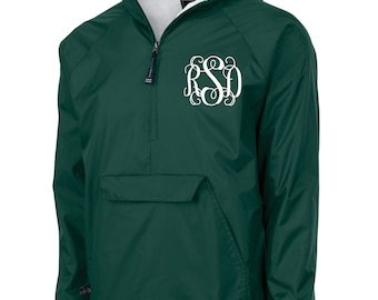 Youth Forest Green Monogrammed Personalized Half Zip Rain Jacket Pullover by Charles River Apparel