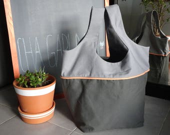 Dark gray, light gray and coral tote bag