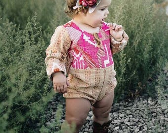 ALL SIZES* Heirloom kantha roll up rompers, Vintage Style Baby clothing, Boho romper, Hippie baby, Shower gift, Bohemian Baby clothing