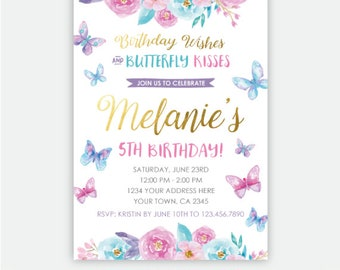 Butterfly Birthday Invitation, Spring Birthday Party Invites, Garden Invitation, Floral Birthday Invite, Personalized Invitation, 2 options