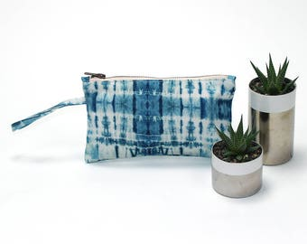 Back to School Pencil pouch, Travel Bag, Cosmetic Bag, Clutch Bag in Shibori Tie-Dye Print. Pencil bag, Pencil Case.  Made in USA.