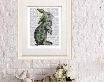 Hare print - Hare with Green Ears - hare art rabbit art print rabbit print Rabbit décor Rabbit Illustration Rabbit wall art bunny print gift