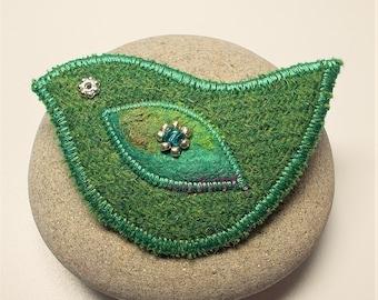 Harris Tweed Bird Brooch Pin
