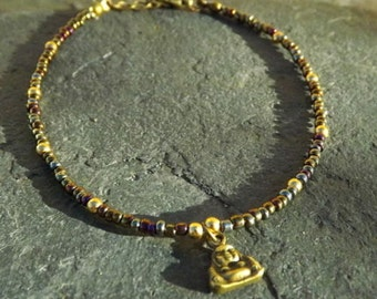 Rainbow Hematite Buddha Charm Anklet Ankle Bracelet
