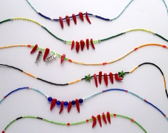 Coral necklaces.