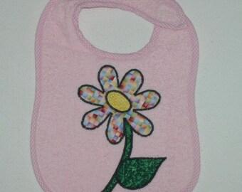 Handmade Baby Bib - Toddler Bib - Flower - Applique - Terrycloth Toddler Bib