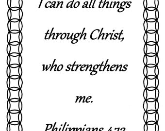 I Can Do All Things...Philippians 4:13 Bible verse coloring page
