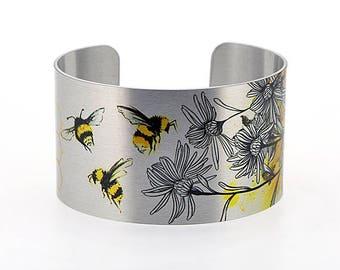 Bee jewellery cuff bracelet, Bumble bee jewelry, metal bangle with insect bees, handmade honey bee nature gifts. Secret Message. C533