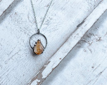 Raw citrine necklace   / nickel&lead free  chain  /