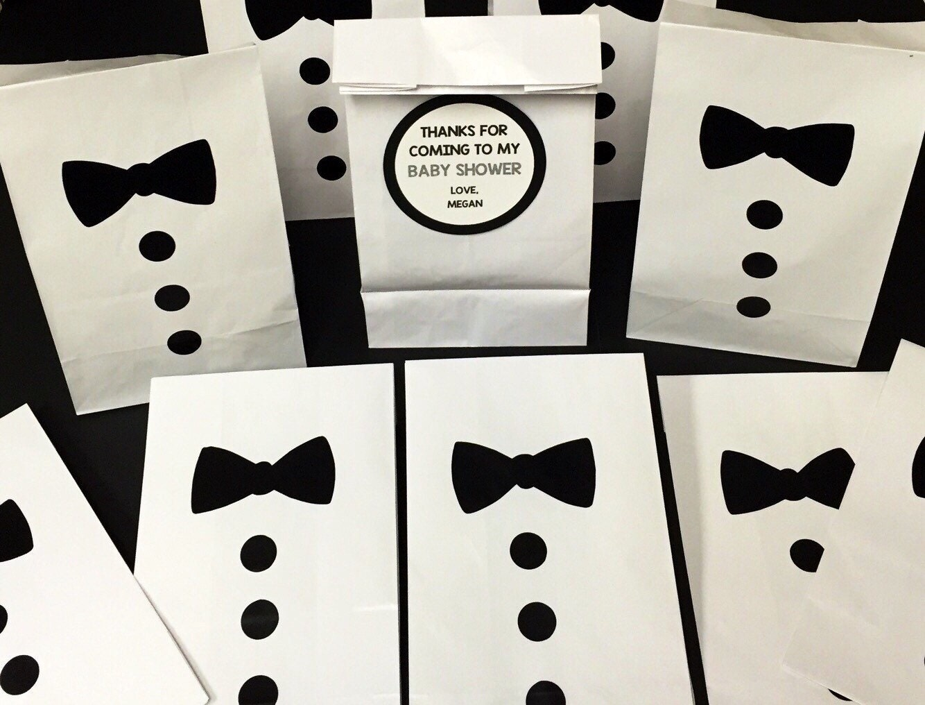Set of 10-Personalized Bow Tie Baby Shower Treat Bags Little