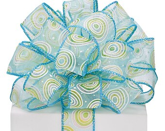 "5YDS x 1-1/2"" Sheer Blue Lime White Glitter Polka Dots & Circles Wired Edge Ribbon (FREE SHIPPING!)"