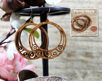 Light weight recycled wood jewelry- whimsical jewelry, swirly earrings, granola girl gift, mom gift, mothers day, surgical steel ear wires