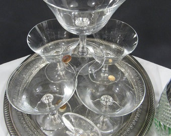 Vintage Crystal Coupe Glasses Made in Turkey Pasabahce Set of 6 Hold 6 oz