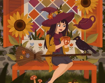 Autumn Witch Drinking Tea