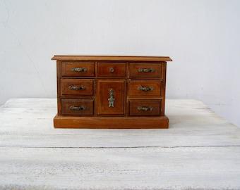 Jewelry Wood Chest Box Vintage, Wood Drawer Chest Box, Vanity Desk Keepsake Box Mid Century Country, Table Storage, Girl Pretend Play Retro