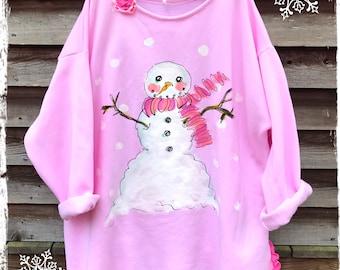 Big Pink Snowman Plus Size Rustic Sweatshirt Tunic Ready to Ship KellyJacksonDesign