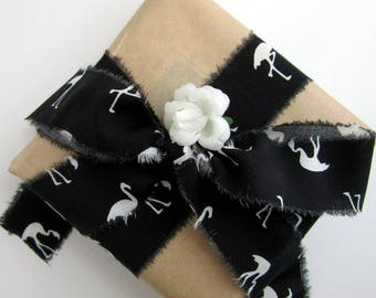 Flamingo Craft Ribbon -  Black and White Cotton Ribbon -Torn Edge Gift Wrap Tape