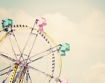 Retro Ferris Wheel - Carnival Photography Print - Mint Green Cotton Candy Pink and Yellow - Nursery Home Decor Photo