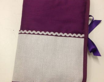 Health booklet has cross stitch Embroidery purple fabric