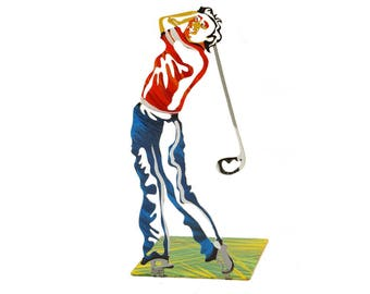 Golfer Metal Bookend, Metal bookend, Designed Bookend, Bookends, Book accessories, Colored Bookend, Golfer Bookend, Book end, Golf